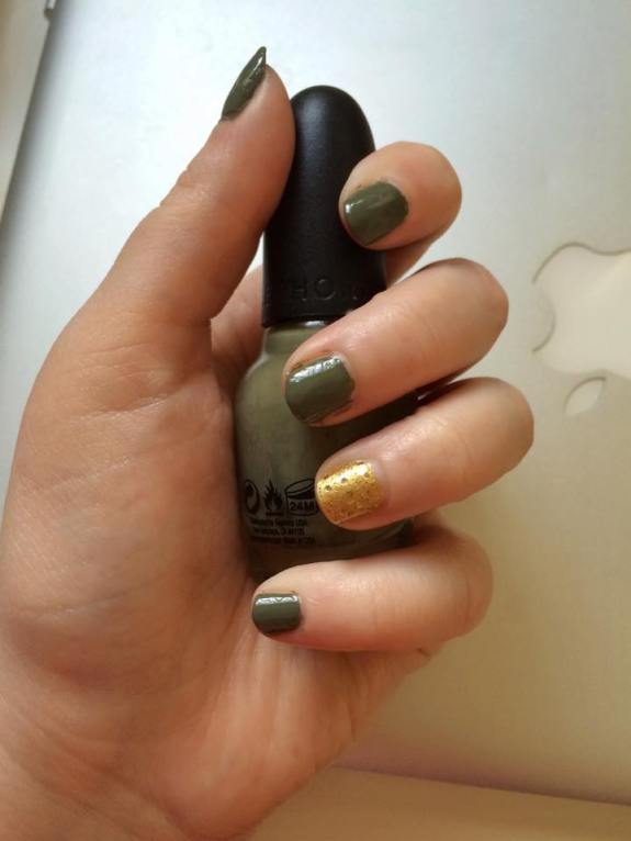 Mani Monday Khaki Green and Golden Gleam